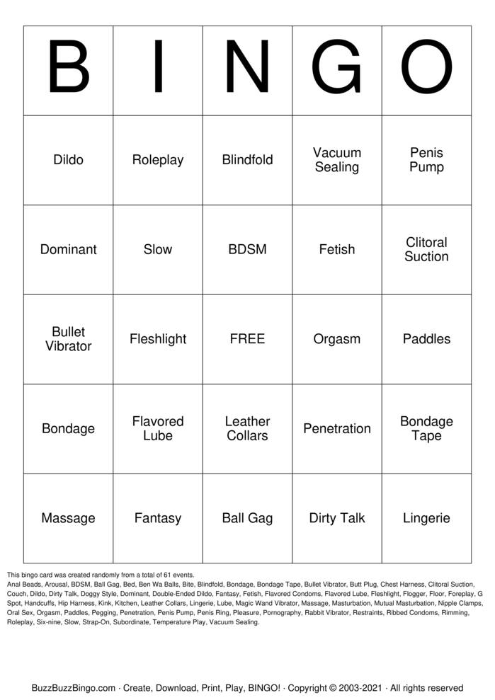 Download Free Sex Bingo Bingo Cards