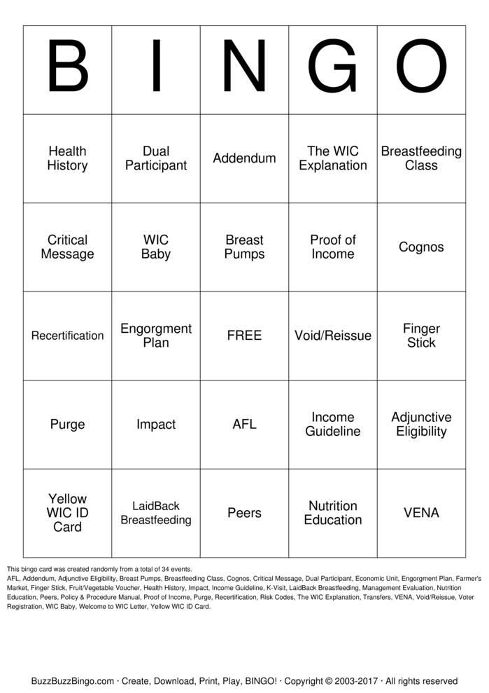 Download Free WIC Bingo Cards