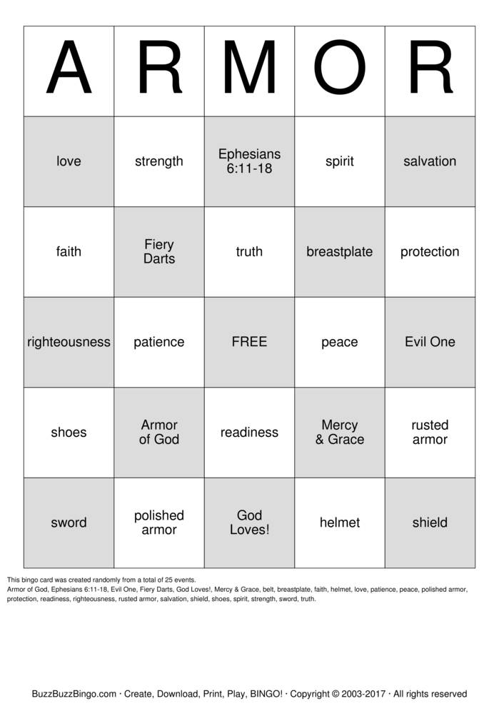 Armour Of God Bingo Cards To Download Print And Customize