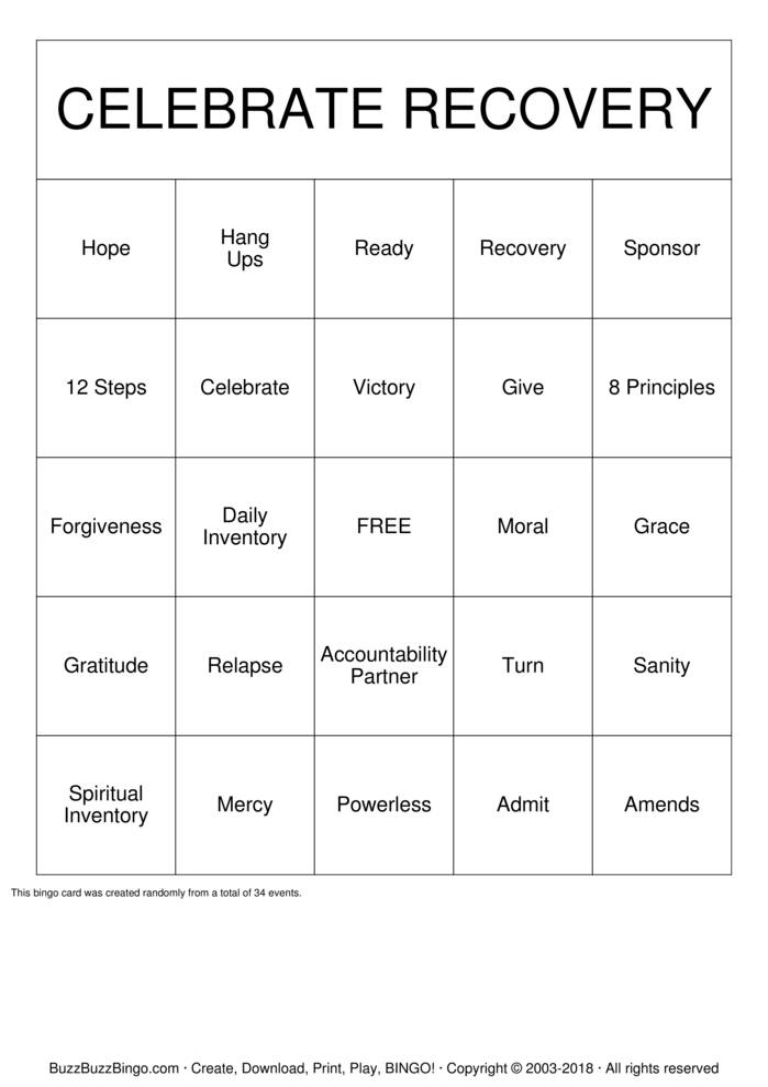 Download Free Celebrate Recovery Bingo Cards