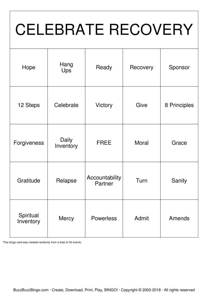 Celebrate Recovery Bingo Card