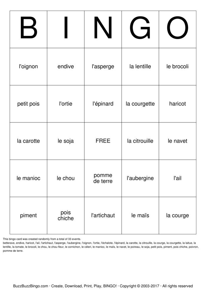 Download French Vegetables Bingo Cards
