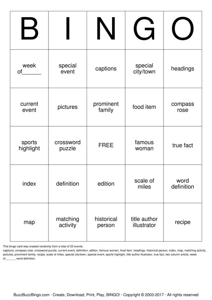 Download Free Non Fiction Text Bingo Cards