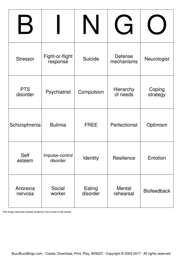 Download Self esteem  Bingo Cards