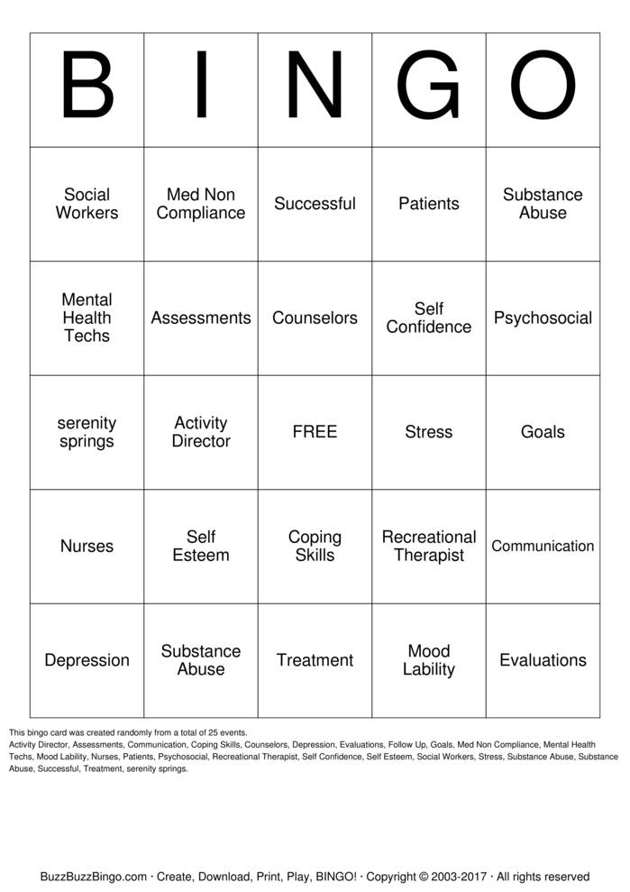 Substance  Abuse Bingo Card