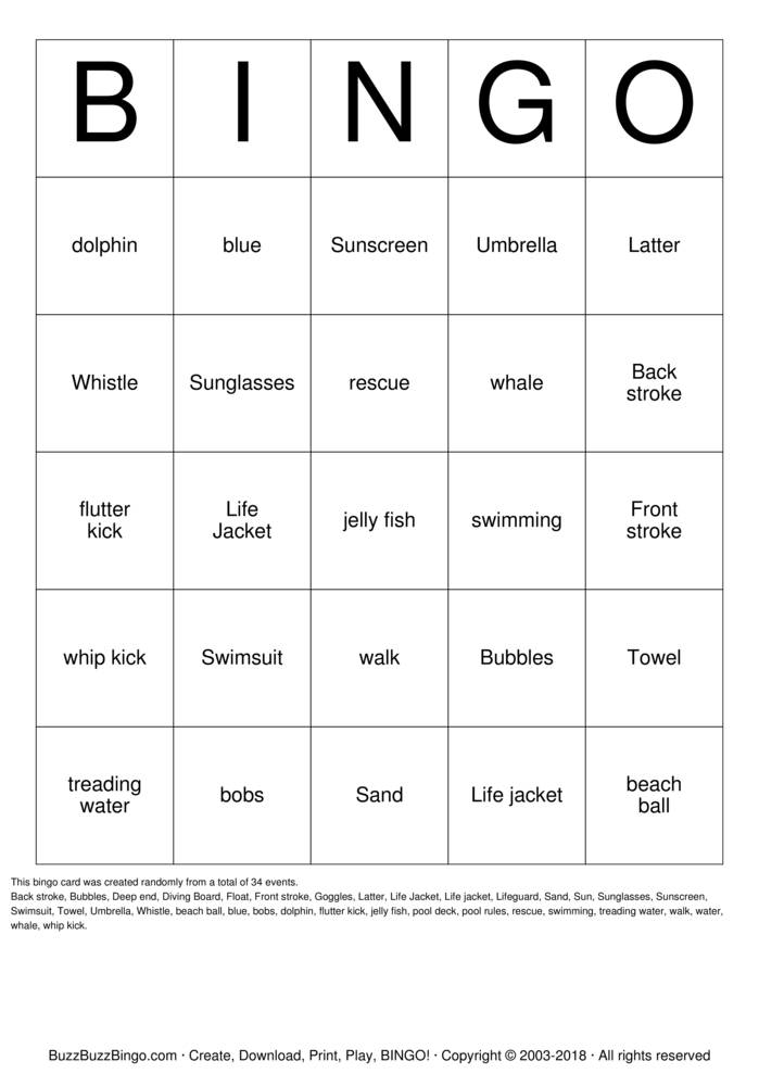 Download Free Swimming Lessons Bingo Cards