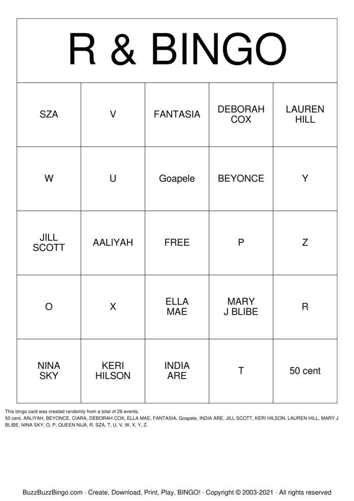 Download Free TRAP BINGO Bingo Cards
