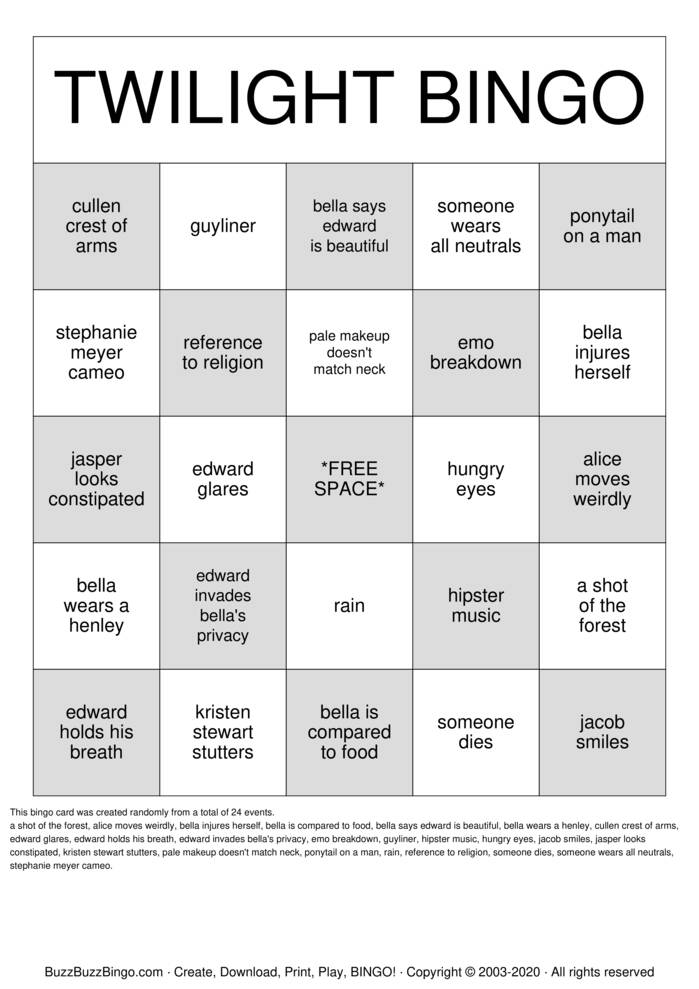 Download Free TWILIGHT BINGO Bingo Cards