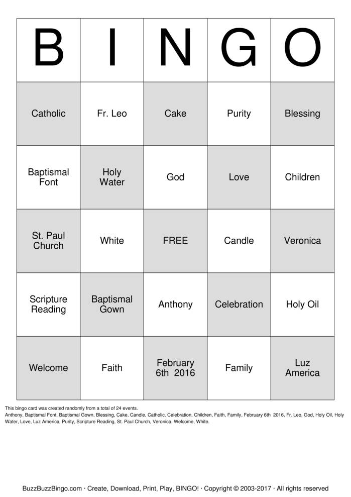Download Free Veronica's Baptism Bingo Cards