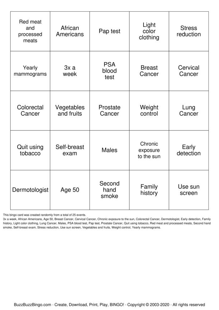 Download Free breast cancer Bingo Cards