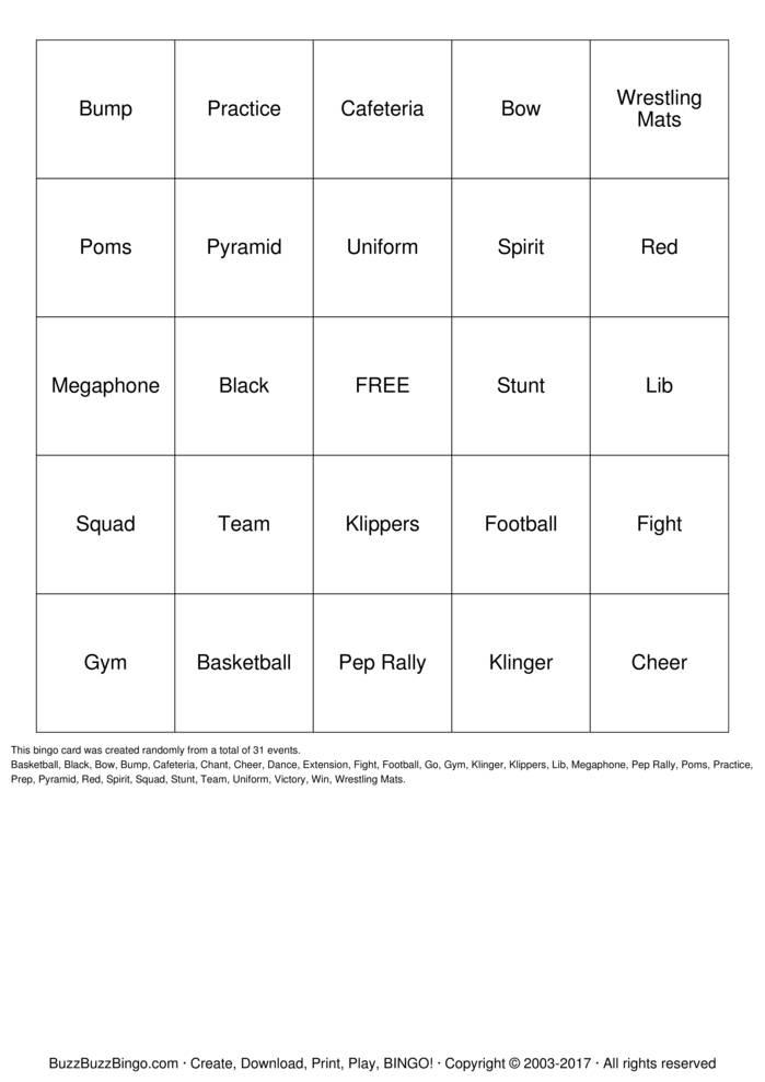 Download Free Cheerleader Bingo Cards