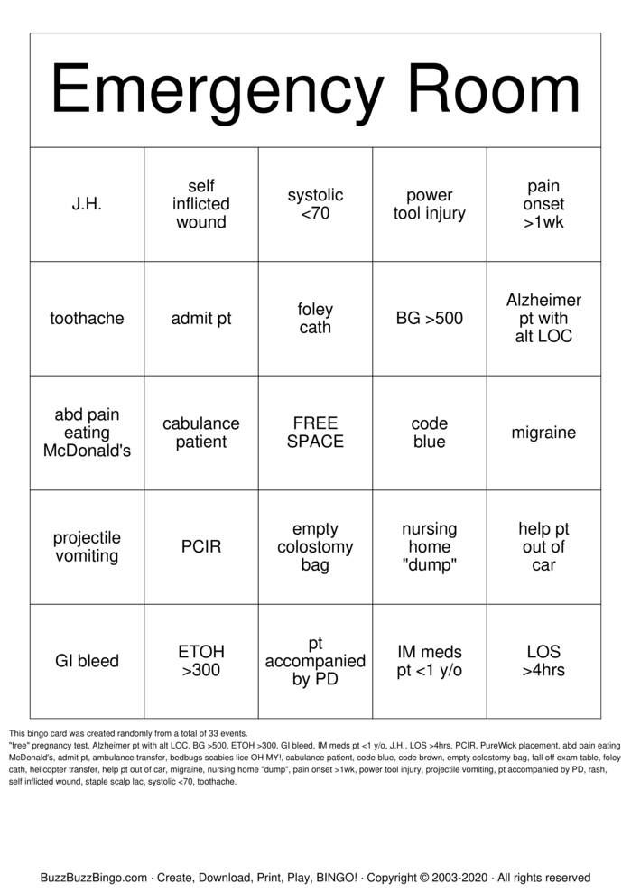 Download Free Emergency Room Bingo Cards