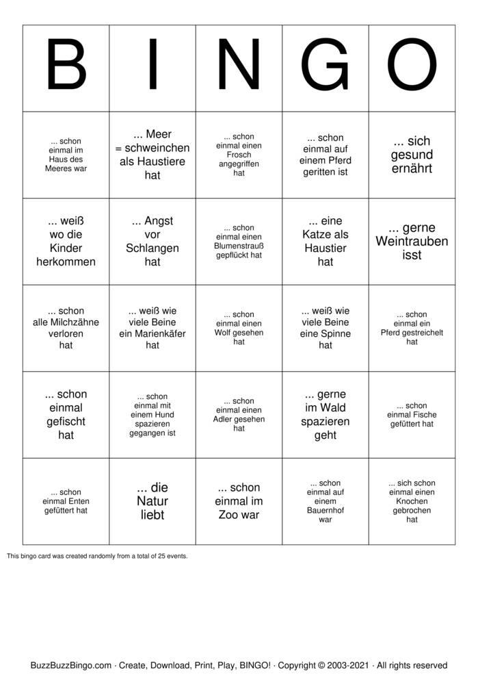 Download Free Finde jemanden der ... Bingo Cards