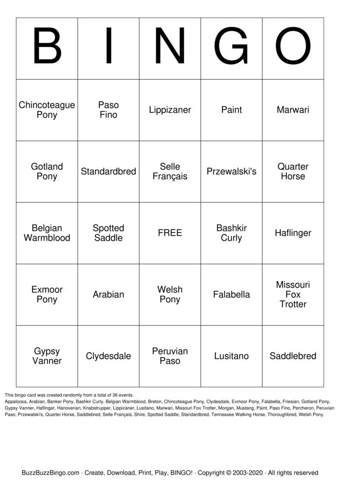 Download Free HORSE Bingo Cards