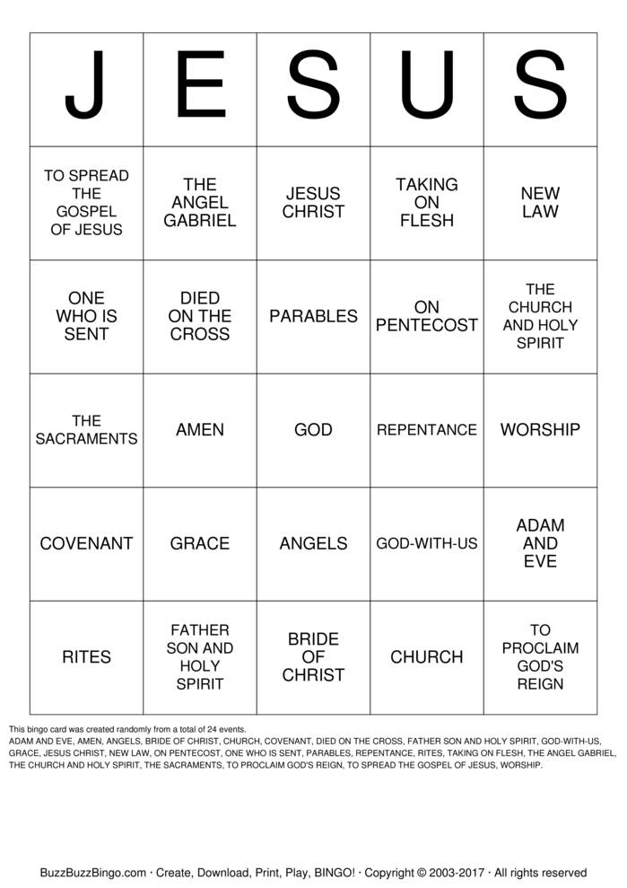 Download Free JESUS BINGO Bingo Cards