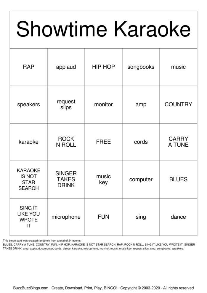 Download Free KARAOKE Bingo Cards