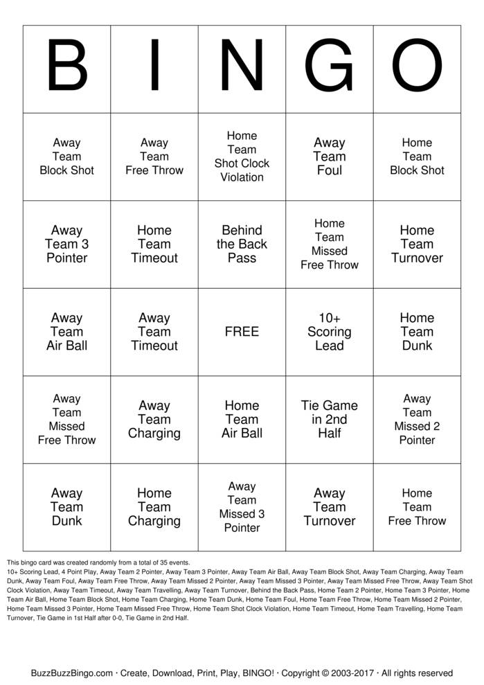 Download March Madness Bingo Cards