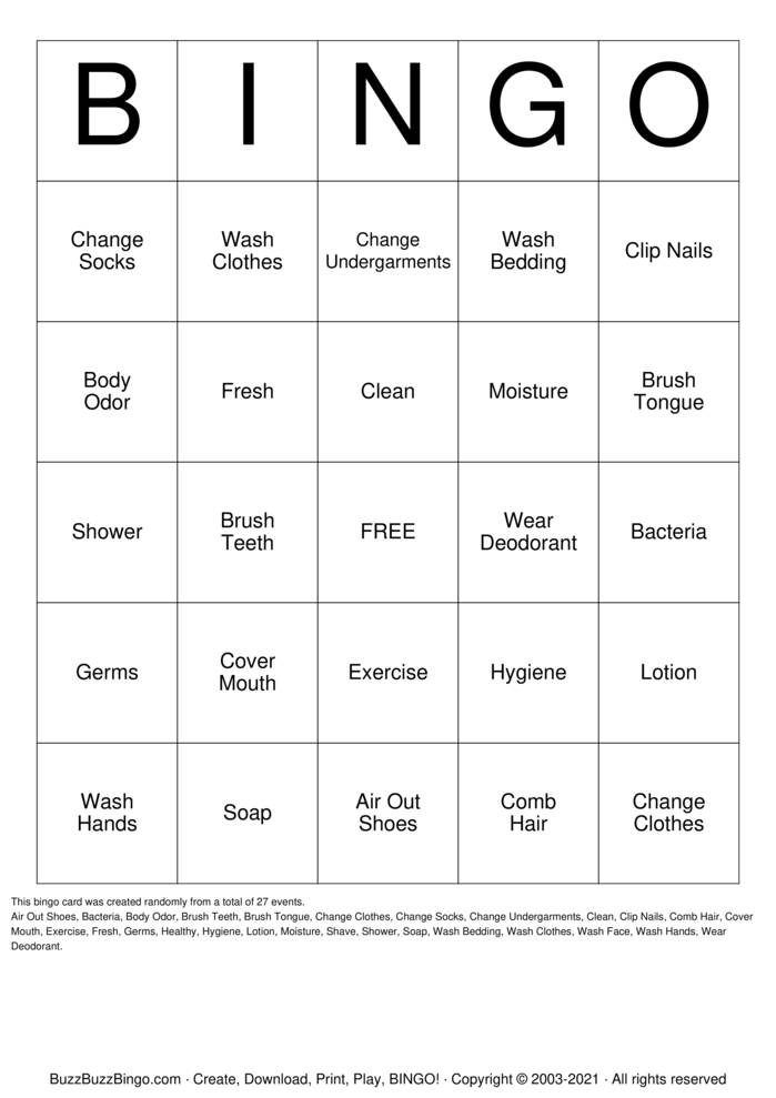 Download Free Personal Hygiene Bingo Cards