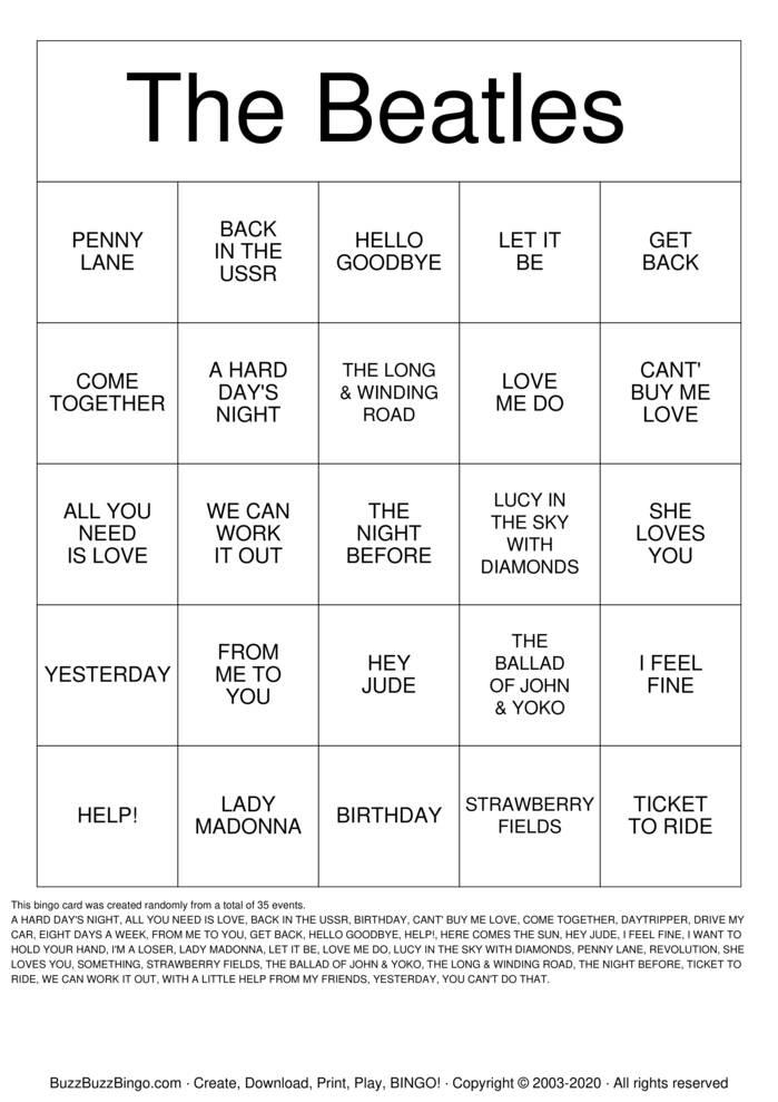 Download Free The Beatles Bingo Cards
