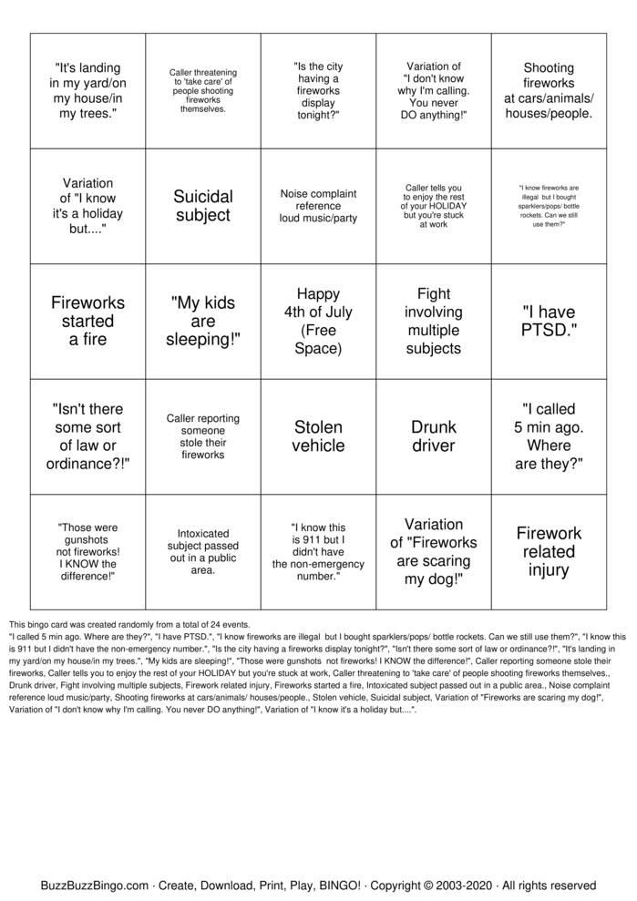 Download Free 4th of July 911 BINGO Bingo Cards