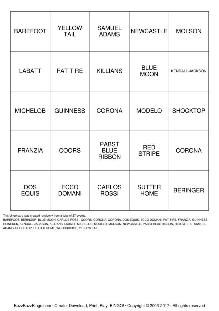Download Free BOOZEO Bingo Cards