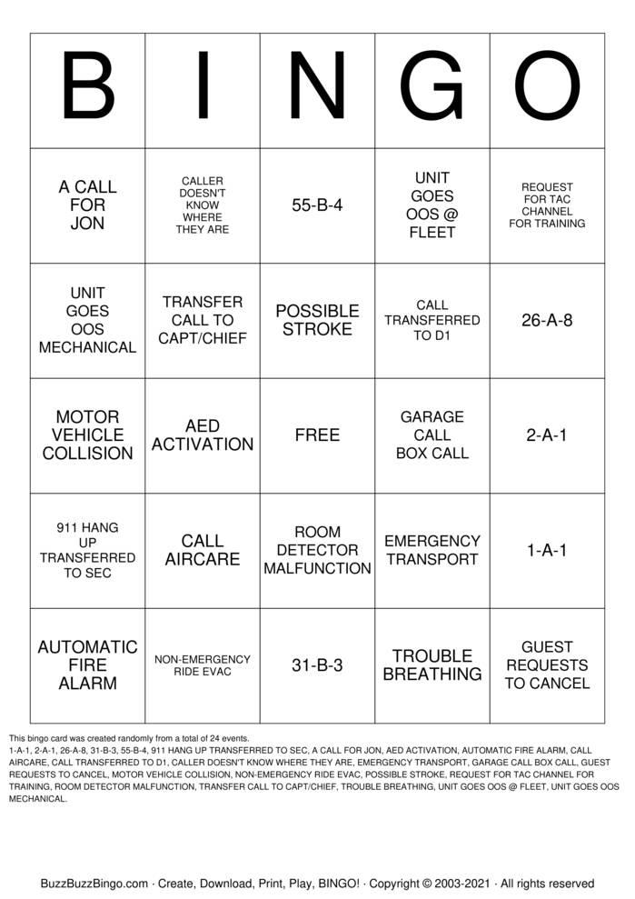 Download Free Dispatch Bingo Cards