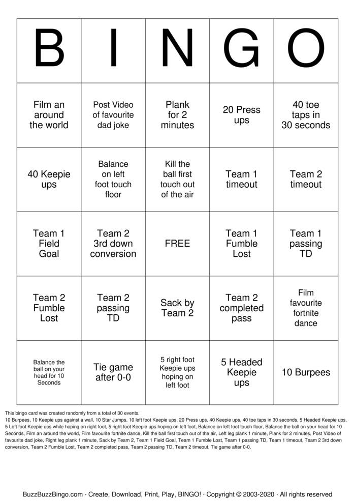 Download Free Football Bingo Cards