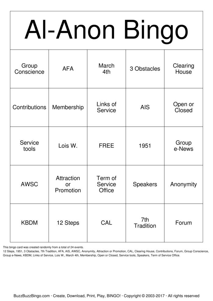 Download Free Al-Anon Bingo Cards