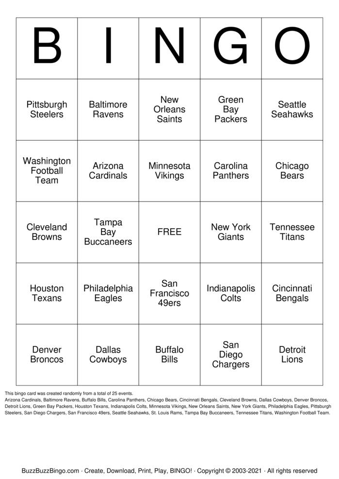 Football Team Names Bingo Card