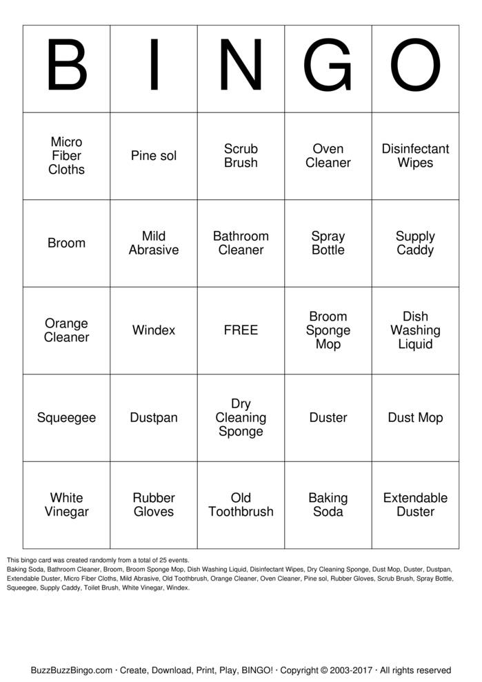 Download Free Housekeeping  Bingo Cards
