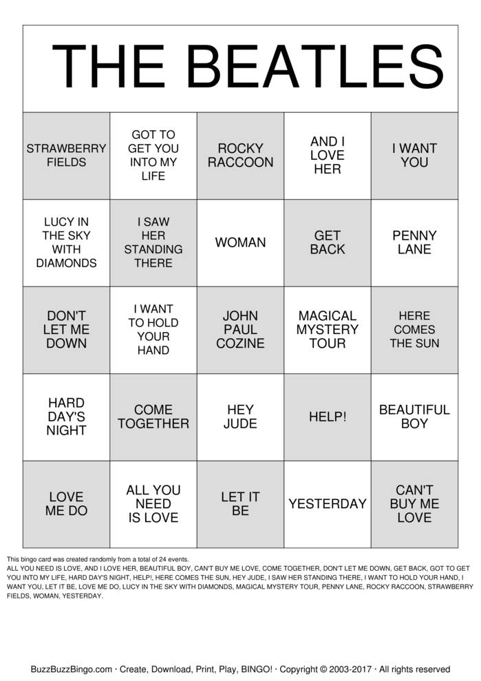 Download Free The BEATLES Bingo Cards