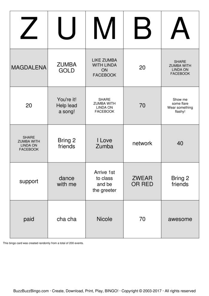 Download Free Zumba with Linda Bingo Cards