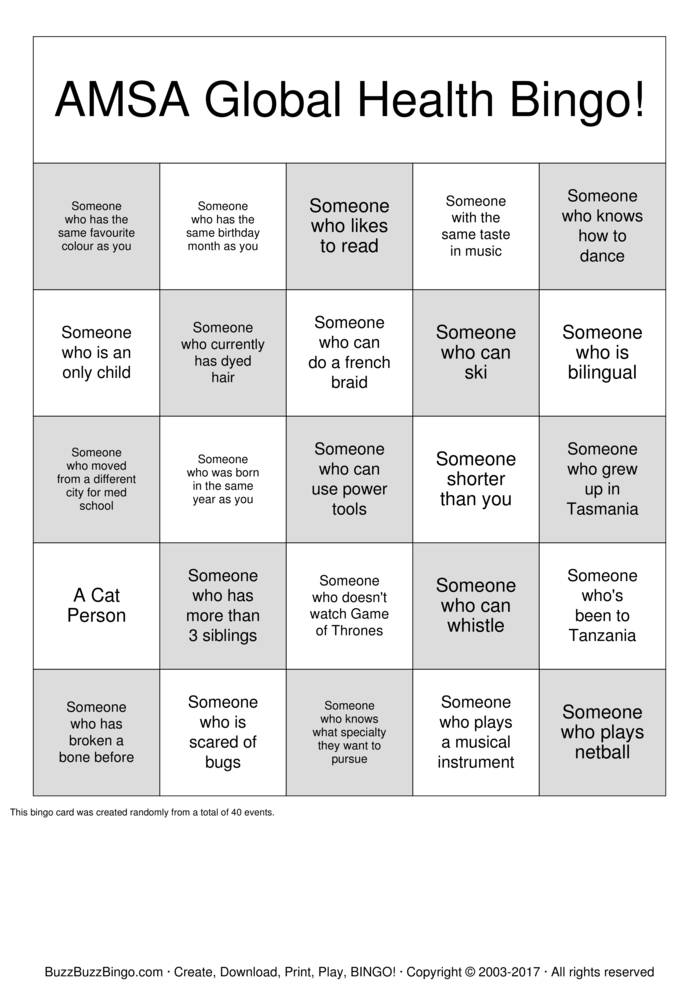 Download Free AMSA Global Health Friendship Bingo Bingo Cards