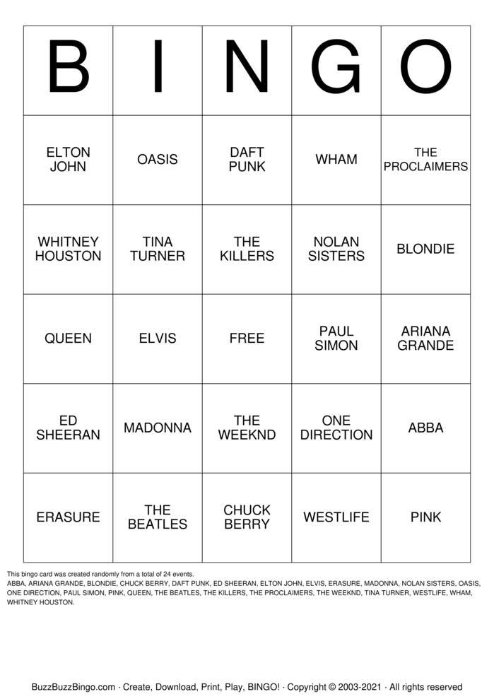 Download Free Boogie Bingo Bingo Cards