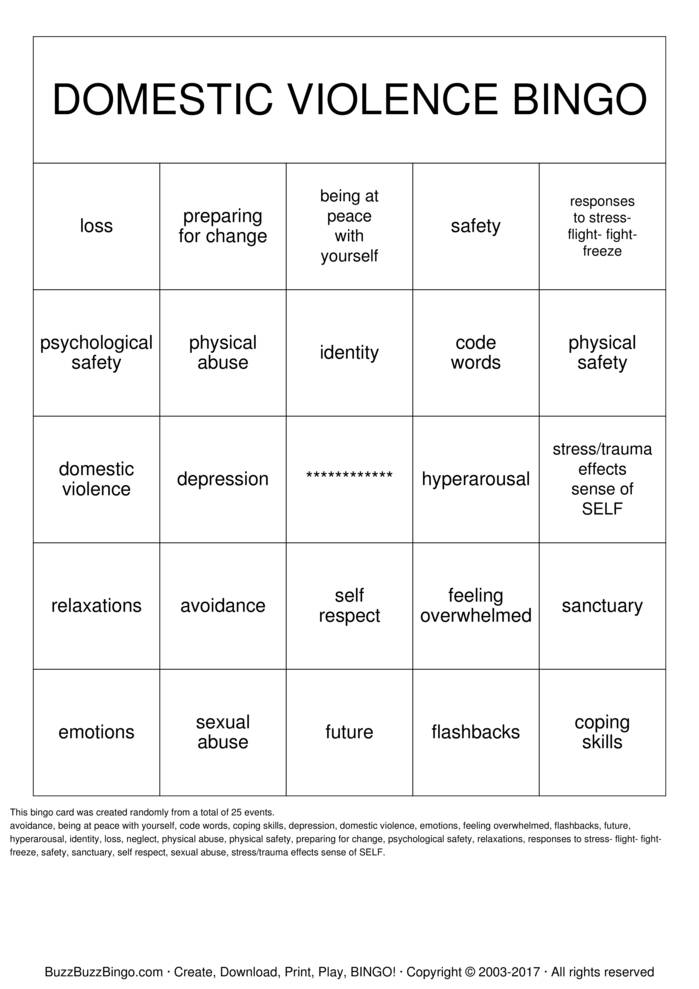 Download Free DOMESTIC VIOLENCE Bingo Cards