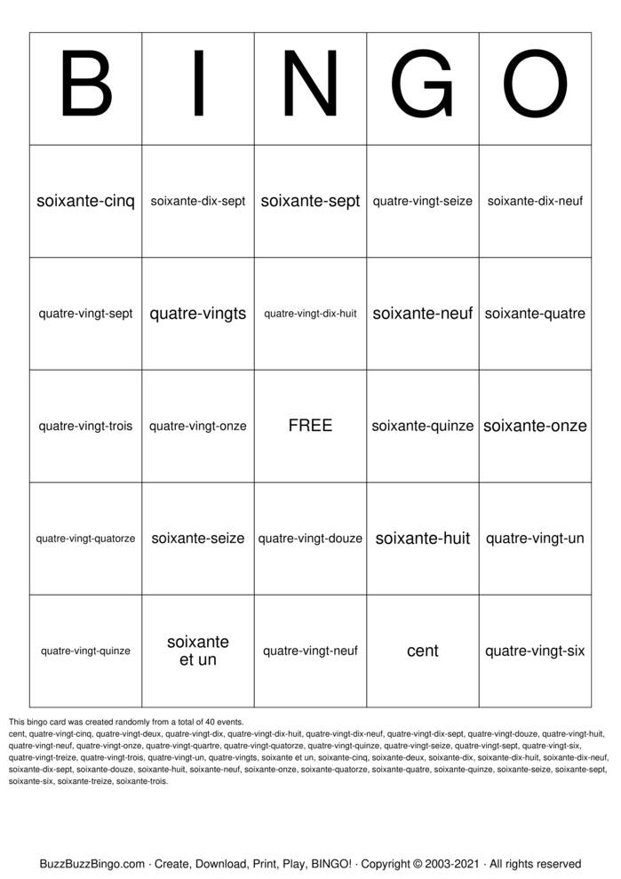 Download Free French Numbers Bingo Cards