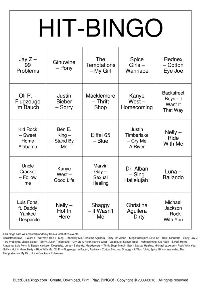 Download Free HIT-BINGO Bingo Cards