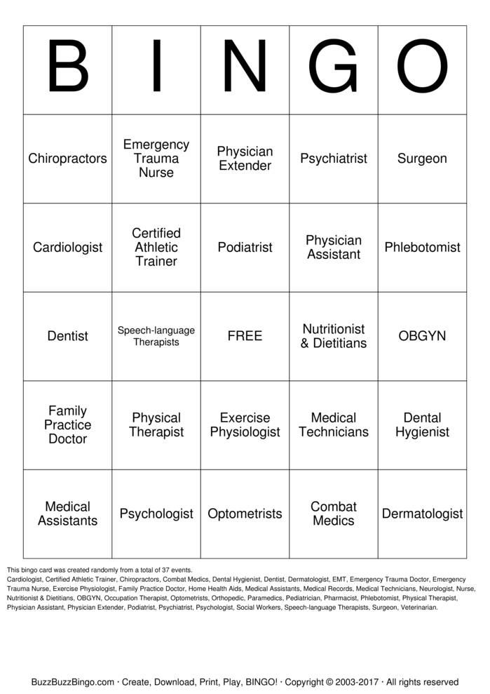 Health Care Careers Bingo Card