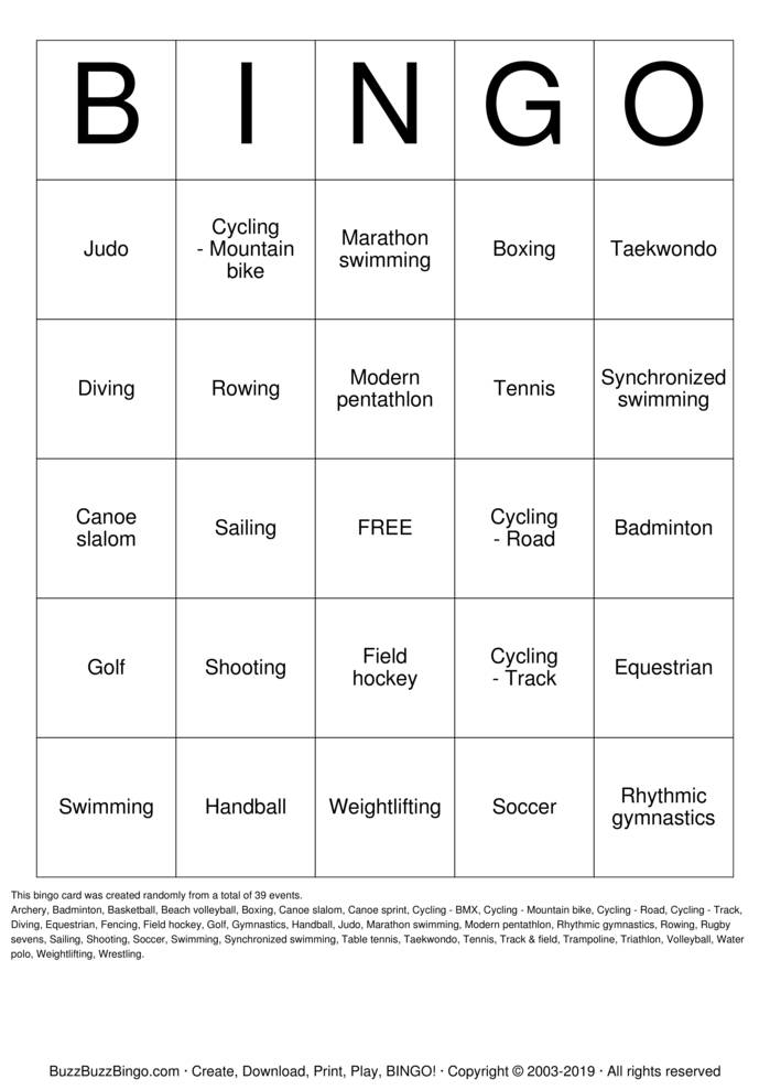 Summer Olympics Bingo Card