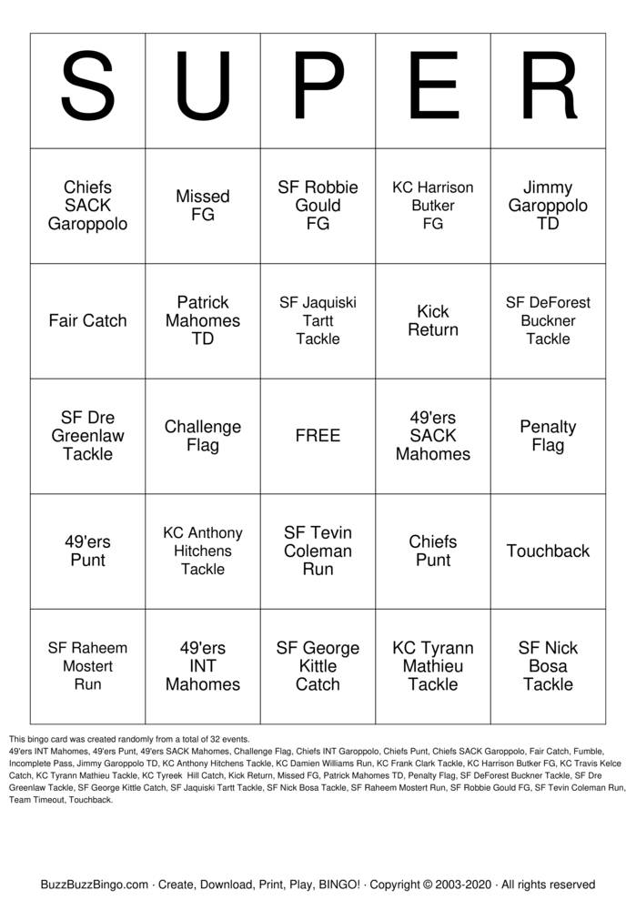 Download Free 2020 Superbowl SF vs KC Bingo Cards