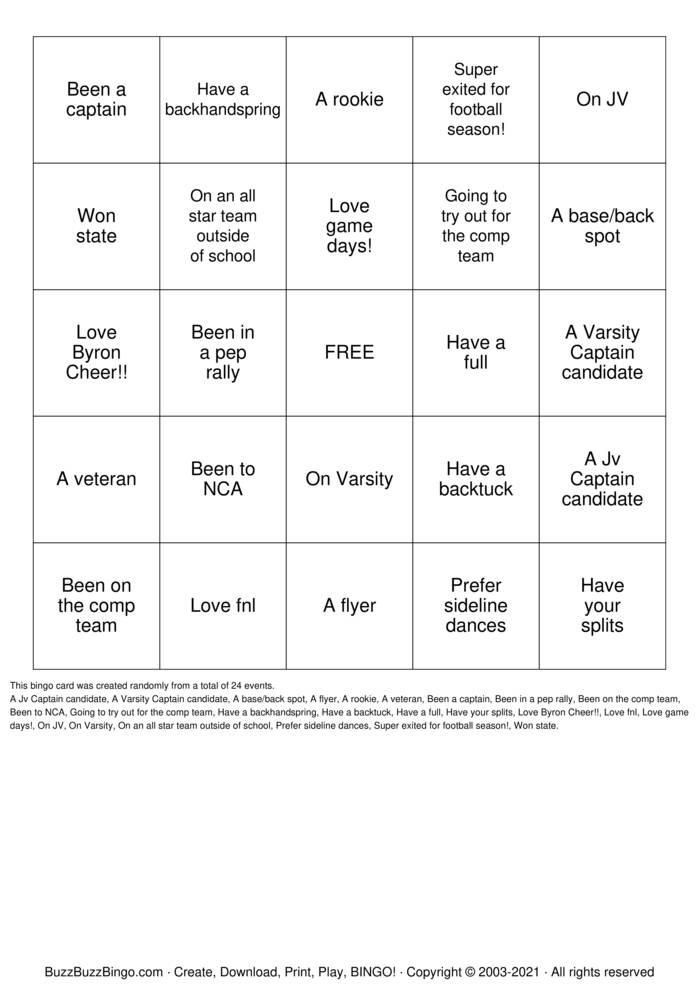 Download Free BOBCAT CHEER BINGO Bingo Cards