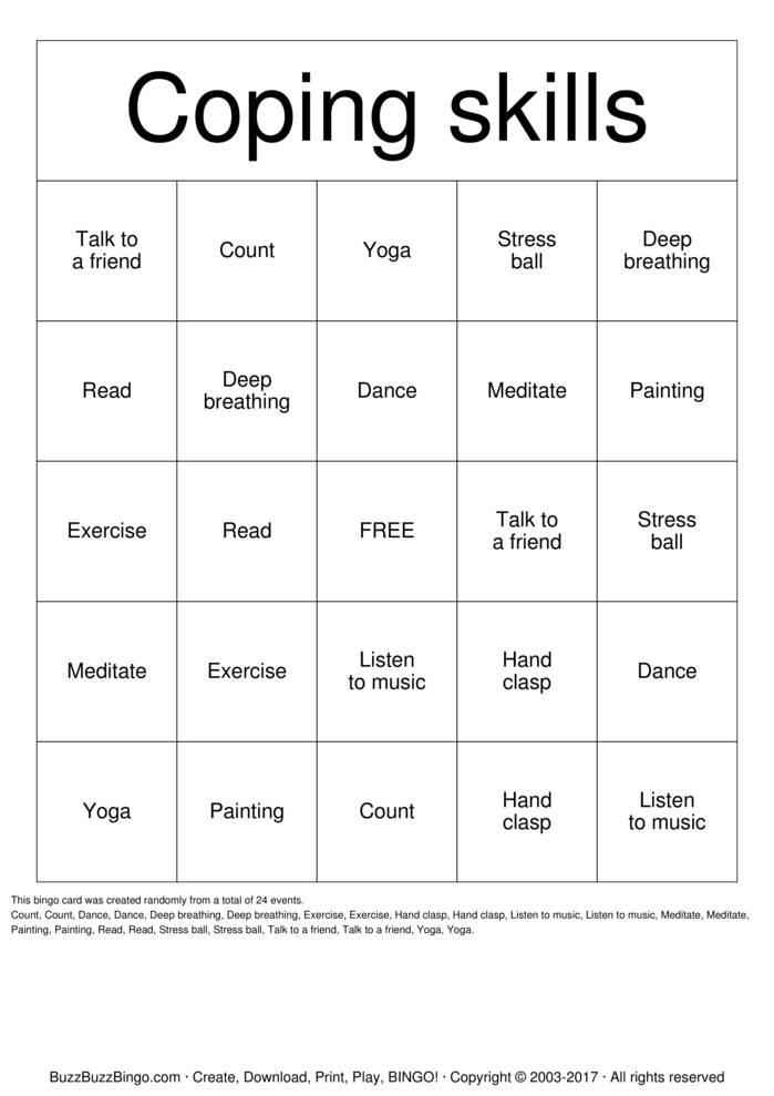 Coping Skills Bingo Cards To Download Print And Customize