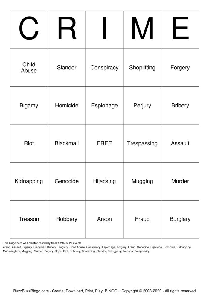 Download Free Crimes Bingo Cards