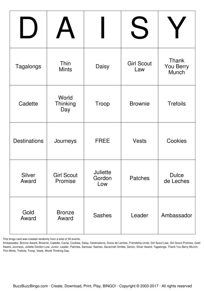 Download DAISY Bingo Cards