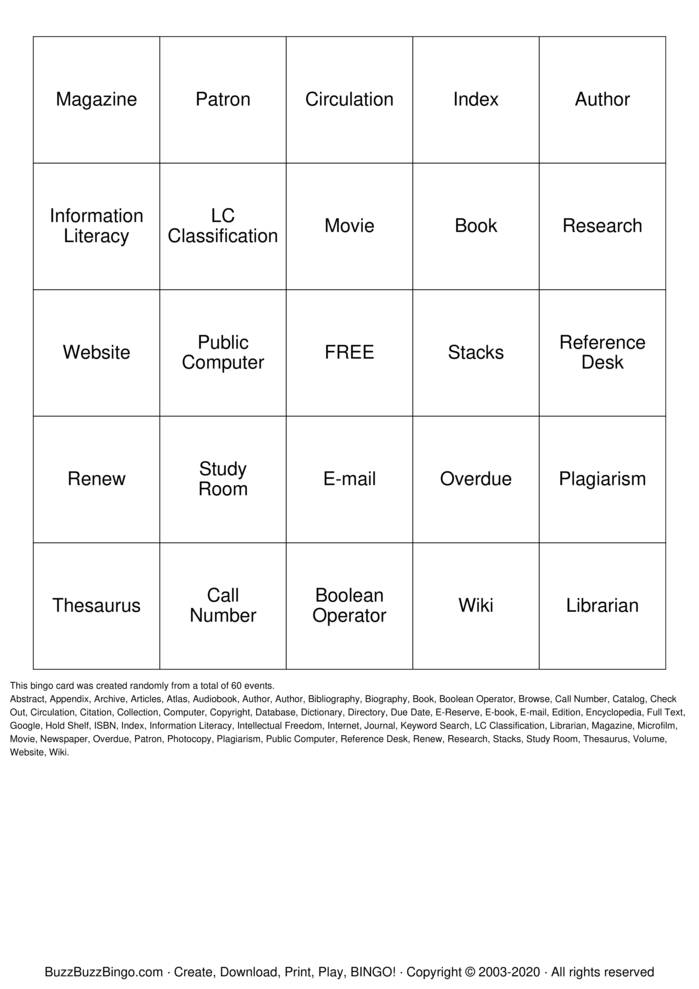 Download Free Getting to Know Your Library Bingo Cards