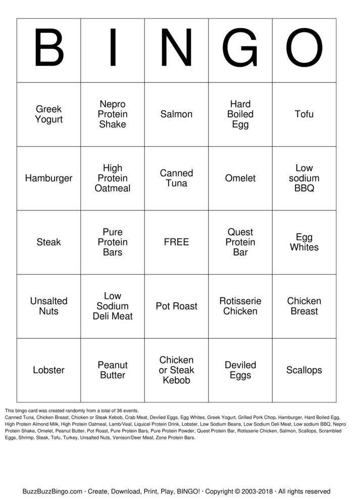 Download Free High Protein Bingo Cards