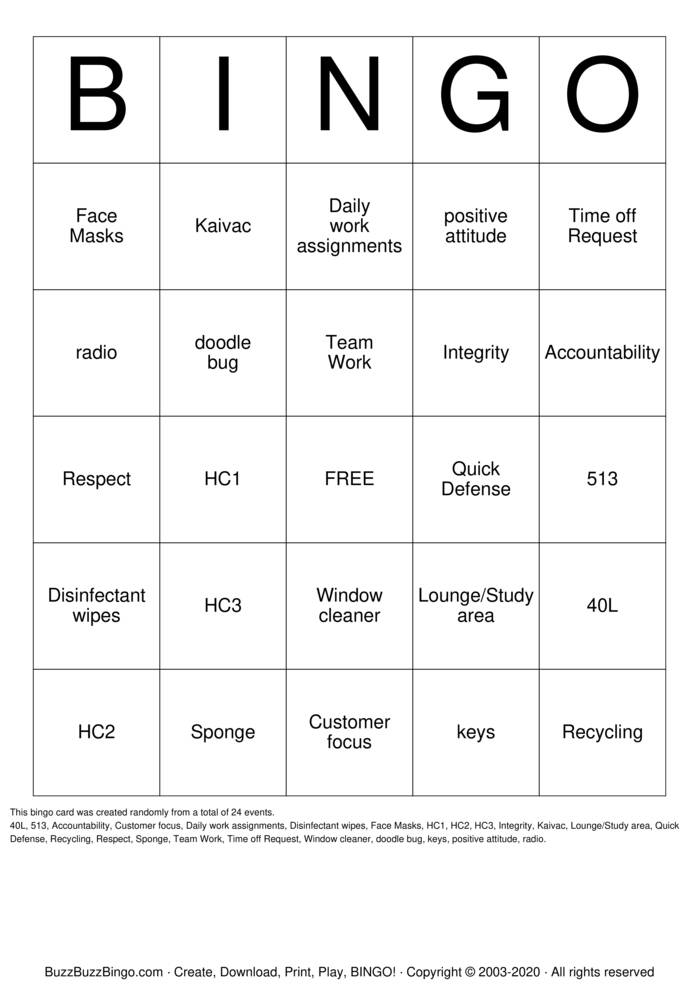 Download Free Housekeeping Week Bingo Cards