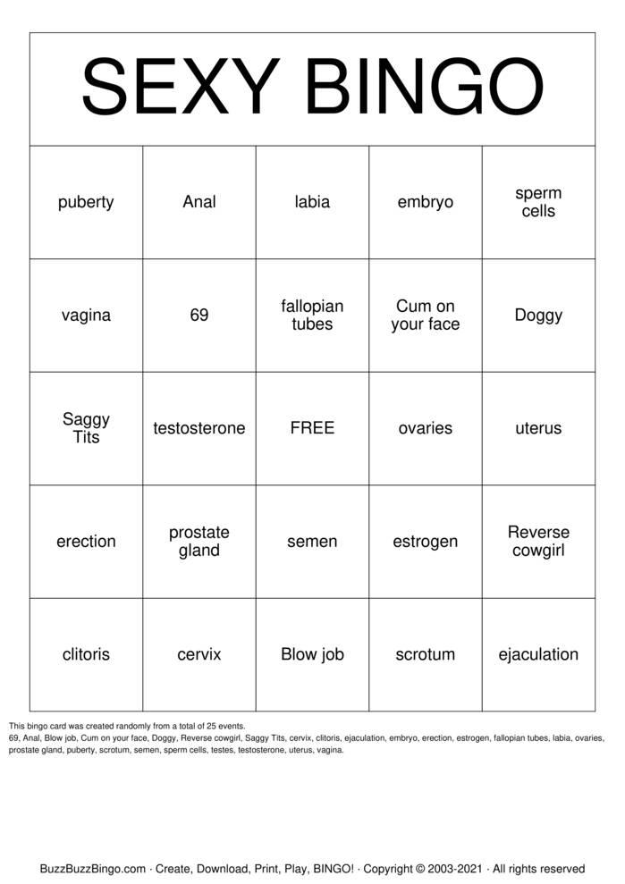Download Free SEXY BINGO Bingo Cards
