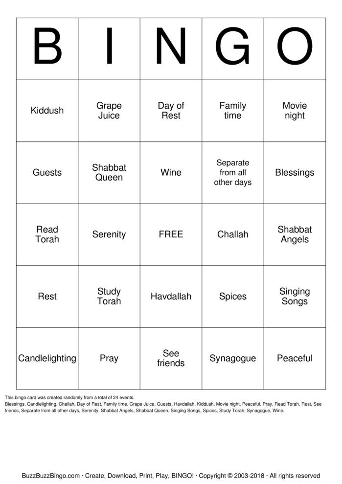 image regarding Shabbat Blessings Printable identify SHABBAT BINGO Bingo Playing cards in direction of Down load, Print and Customise!