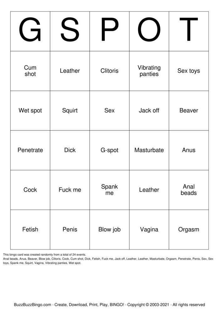 Download Free Vagina Bingo Cards